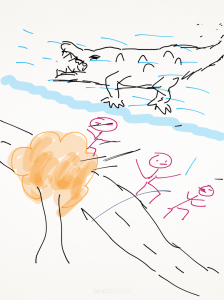 Crocodile scaring villagers